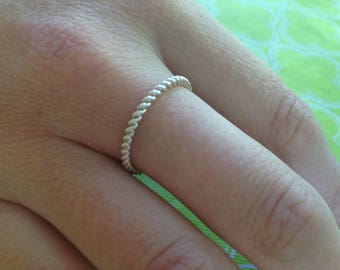 Silver Stacking Ring, Silver Twist Ring