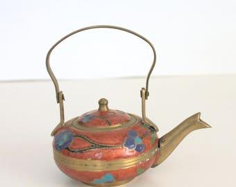 Vintage Miniature Cloisonne Brass Teapot ,Kettle , Metal and Enamel