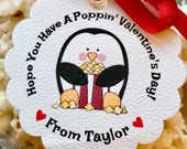 12 Valentines Popcorn Tags ~ Personalized Kids Valentines Treat Tags w/Ribbon ~Valentines Day Treat Bags ~ Valentines Favors For Kids