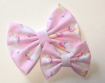 Pink Unicorn Bow | Fabric Bow | Handmade Hair Bow | Hair Clip | Headband