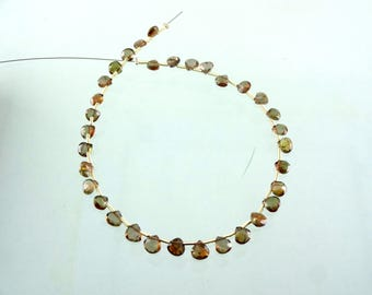 """13Cts Natural Andalusite Faceted Heart Drop Gemstone Beads 4.5-5.5mm 8"""" Strand"""