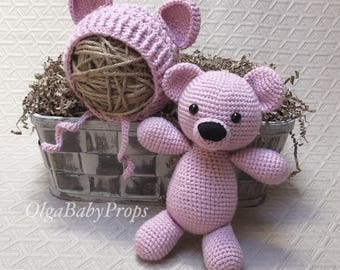 Teddy Bear and hat newborn photo stuffed toy and bonnet set newborn photo props pink brown Mini Bear crochet Bonnet props Crochet props
