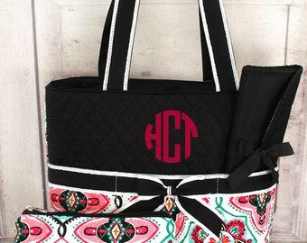Monogrammed Diaper Bag, Baby Shower Gift, Personalized Diaper Bag, Floral Diaper Bag, Custom Baby Shower Gift, New Baby Gift, Diaper Bag