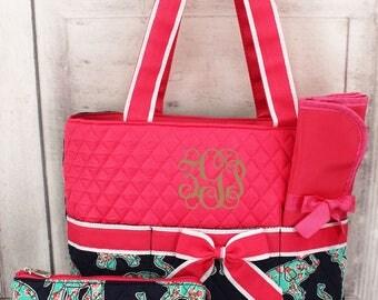 Monogrammed Diaper Bag, Personalized Diaper Bag, Elephant Baby Theme, Monogram Baby Shower Gift, Personalized Bag, Baby Shower Gift