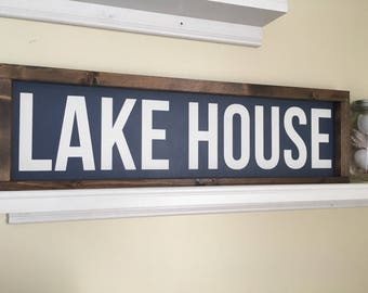 SECONDS SALE Lake House sign, lake decor, wall hanging, framed sign, blue and white