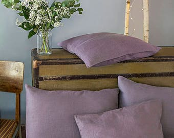 Linen Pillow Case/ Linen Pillow Cover/Lavender Shams/Natural Linen/Softened Linen