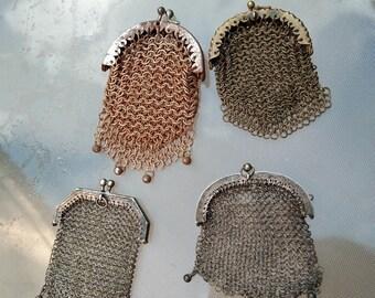 lot 4pcs French antique Art Nouveau sterling silver bronze metal  Mesh Mistletoe Purse jewelry bag coin bag flower ornate gold bag