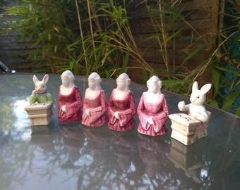 lot vintage 6pcs ceramic  rabbit retro french vintage  miniature figurine school Woman 18th century dress lady statue hand painted