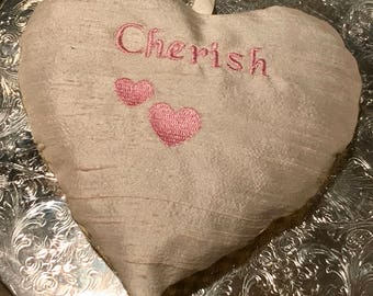 "Lavender & Rose Heart Sachet~Dupioni Silk Embroidered ""Cherish"" and hearts"
