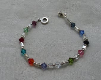 Colorful Glass Beaded Bracelet With Ball & Ring Closure