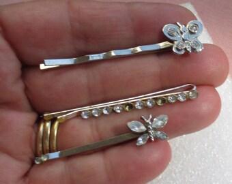 Lot Of Retro Butterfly Rhinestone Hair Pins Missing Rhinestones