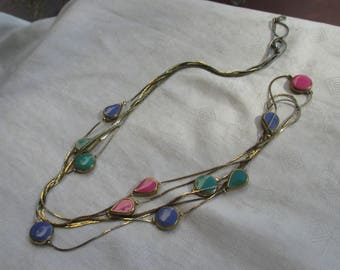 Retro  Three Strand Colorful Enameled Herringbone Long Chain Necklace