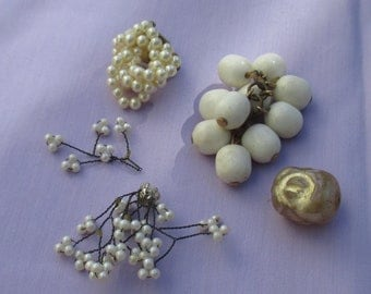 Vintage Faux Pearl & White Beaded Single Odd Earring Beaded Dangle Loose Bead Wired Faux Pearls