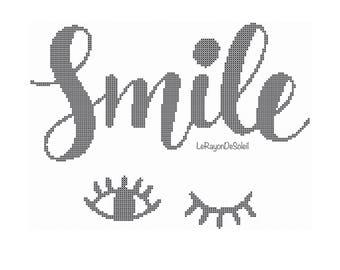modern cross stitch pattern smile eyes, PDF Instant download.
