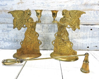 Brass Angel Candle Holders Brass Taper Candle Holder Vintage Home Decor Wedding Gift Collectible Wedding Decor Bridal Shower Decoration