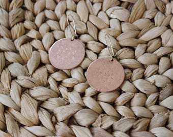 Stamped copper disc earrings