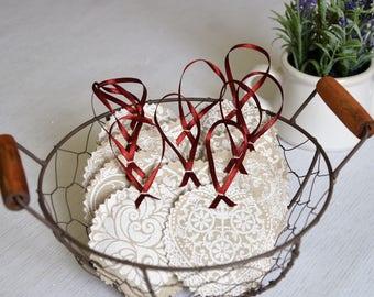 Lavender bag with hanger prints heart circle set 10pcs. Aroma moth Lavender Sachet natural beige white