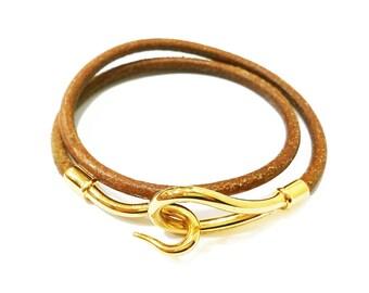 Hermes Hook 24K Gold Plated Palladium Leather Bracelet /Choker