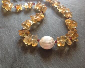 Citrine nugget necklace, garnet, moonstone, peridot, Karen Hill Tribe, Sterling silver, november birthstone, gift for her.