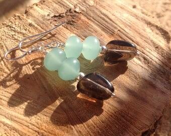 Smokey Quartz earrings/Amazonite/gemstone earrings/Sterling silver/Brown/Aqua/drop earrings/Dangle earrings/gift for her