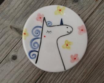 Unicorn Ceramic Ring Dish,Pottery Unicorn,Girly Ring Bowl,White,Pink,Unicorn plate,Cute Unicorn,Ring Bowl,Whimsical,Birthday Gift for Her