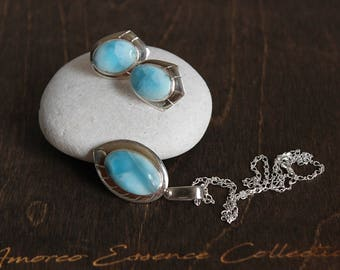 Larimar Sterling Silver Pendant and Earring Set