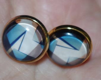 "Gorgeous 14K GF """" Geometric Design"""" Designer Look Dome 14MM Stud Earrings"