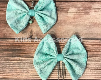 Fabric bows - Mint and grey