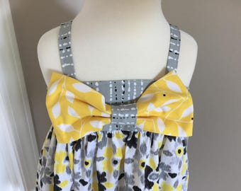 One of a kind girls Hattie spring and summer dress with detachable bow, 5T,  ready to ship! Yellow, gray and black graphic prints.
