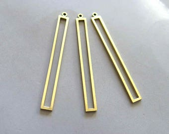 30pcs Raw Brass Rectangle Charms, Pendant Findings 43mm x 4mm  - F779