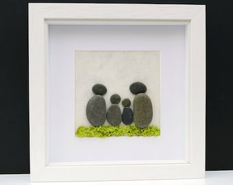 Framed Pebble Art - Pebble Family - Stone People - Stone Family - White Wood Frame - Square Wall Art