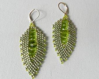 Russian Leaf Beadwoven Earrings Light Green Leaf Earrings Metallic Peridot Earrings Green Crystals  Day Night Earrings Christmas Earrings