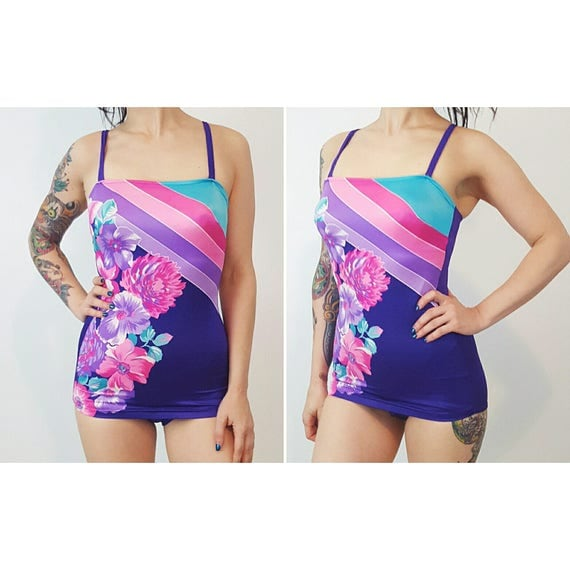 70s Vintage Floral Swimsuit Playsuit Small - Purple Pink Flower Print One Piece Vtg 1970s Low Cut Skirted Bathing Suit