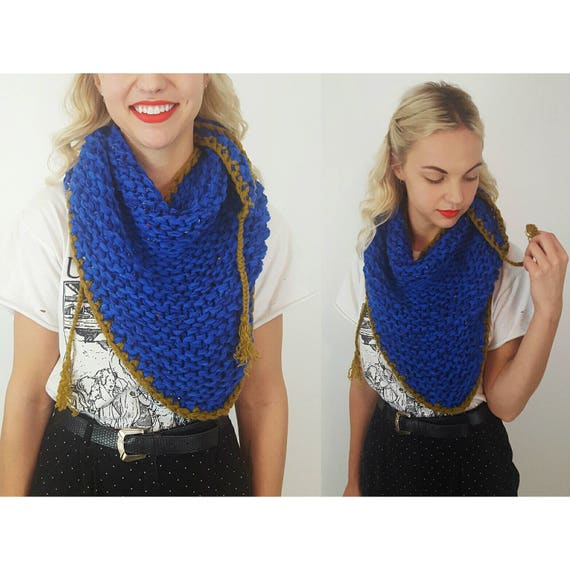 Blue Chunky Stitch Crochet Shawl - Large Handmade Knit Wrap Scarf With Fringe Tassels - Bright Colorful Handknit Statement Neckwarmer Fall