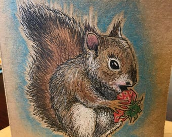 Squirrel - Hand Drawn Greeting Card