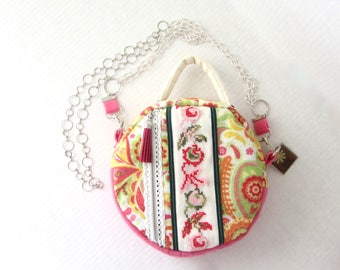 End of SUMMER SALE // Round Crossover Bag // Drum Crossbody // Cross Stitched Flowers // One of a Kind Eco Fashion // Unique Handbag