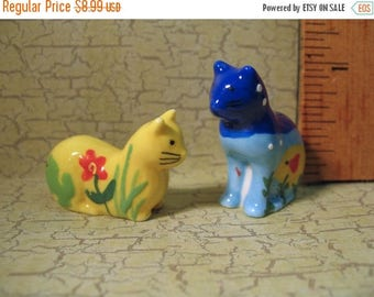 SALE Happy Art CATS Kittens kitty cat kitten - set of 2 - French Feve Feves Figurine Tiny Miniature W108