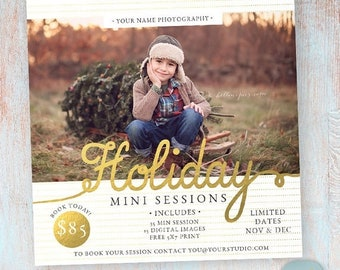 ON SALE Holiday Mini Sessions - Christmas Photography Marketing - Photoshop template - IC022 - Instant Download