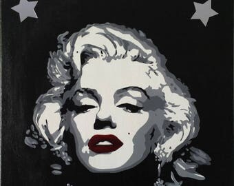 Portrait acrylic painting on canvas - Marilyn Monroe pop art Hollywood