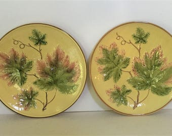 """TWO c.1910 11 1/4"""" Majolica Charger Germany Zell"""
