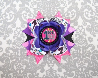 First Grade Rocks - Back to School Hair Bow - Back to School Hair Clip - First Grade Rocks Hair Clip - Blue 1st Grade Bow