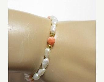 ON SALE Vintage Rice Freshwater Rice Shape Pearl and Angel Skin Coral Bracelet