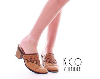 Leather Mules Vintage Mules Tooled Leather Shoes Slip On Shoes Leather Sandals Vintage Shoes Women' Size US 10 / UK 8 / EUR 40-41