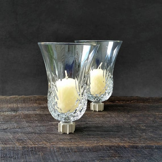 Clear Glass Candle Wall Sconces : Clear Glass Votive Cups Candle Holders for Sconces Vintage