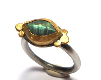 Labradorite ring - silver ring - Gold ring - Statement gold ring - Engagement ring - 24 k gold ring - free shipping!!!