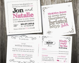 Personalised Sketch Wedding Invitation