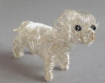 Wire dog, dachshund figurine, metal dog art, standing hound ornament, pet portrait, 3D animal sculpture, beagle, basset hound, one of a kind