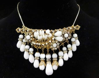 Beautiful Original by Robert Milk Glass and Clear Rhinestone Montees and Rhinestone Rondell Dangle Brooch/Pendant