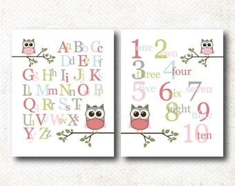 ABC's and 123's, Nursery Art Print, Art Print Set