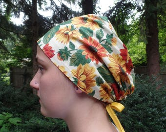 Sunflower Power Fabric Floral Surgical Scrub Cap Chemo Hat Adjustable Ties in Back One Size Fits All